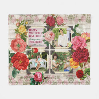 Couverture Polaire Collage vintage de photo d'Instagram de roses du