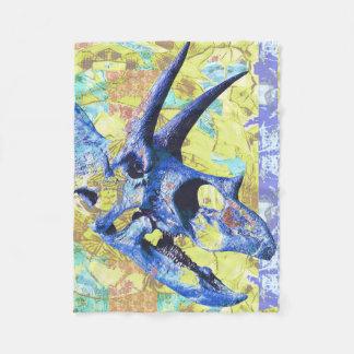 Couverture Polaire Conception colorée de crâne de dinosaure dans le