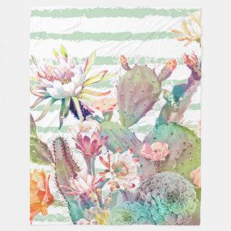 Couverture Polaire Conception de cactus, florale et de rayures