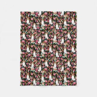 Couverture Polaire Conception de chien de fleurs de beagle de
