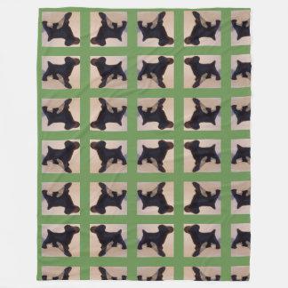 Couverture Polaire Conception de chien vert et noir