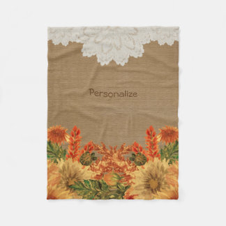 Couverture Polaire Conception de fleur d'automne d'automne