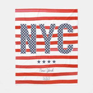 Couverture Polaire Conception de rouge de NYC |, blanche et bleue