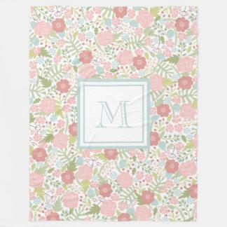 Couverture Polaire Confortable en pastel floral de monogramme de