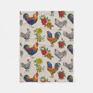 Couverture Polaire Couverture, poules et roses pelucheux d'ouatine de