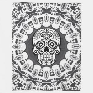 Couverture Polaire crâne drôle de mandala