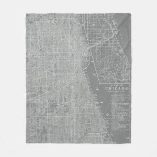 Couverture Polaire Croquis de carte de ville de Chicago