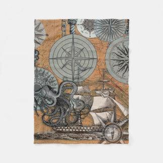 Couverture Polaire Dessin vintage d'impression d'art de poulpe de