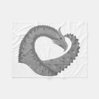 Couverture Polaire Dragon gris de coeur sur le blanc