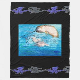 Couverture Polaire Dragons de noir bleu de Narwhal de licorne de