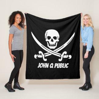 Couverture Polaire Drapeau de pirate de jolly roger avec le nom