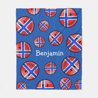 Couverture Polaire Drapeau norvégien de sourire de rond brillant