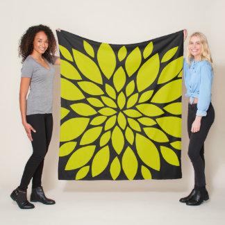 Couverture Polaire Éclat floral Chartreuse et gris-foncé