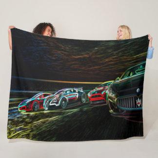 Couverture Polaire Emballage de l'art au néon de voitures de graffiti