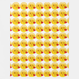Couverture Polaire Emoji de Baiser-Coeur