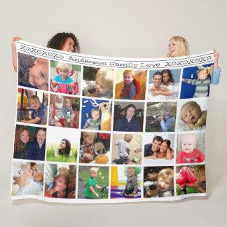 Couverture Polaire Étreintes et collage rustique de photo de famille