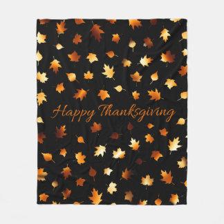 Couverture Polaire Feuille d'automne de thanksgiving