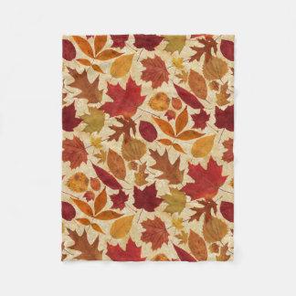 Couverture Polaire Feuille d'automne sur le beige
