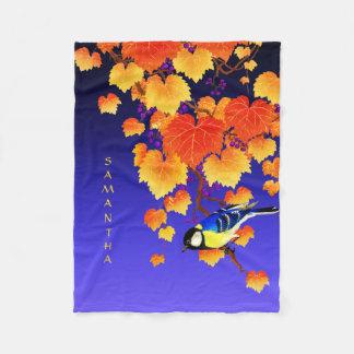 Couverture Polaire Feuille orange de grand oiseau de mésange de vigne