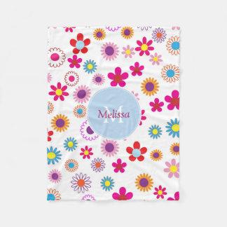 Couverture Polaire Fleurs colorées drôles mignonnes modernes