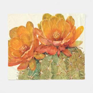 Couverture Polaire Fleurs d'orange de cactus