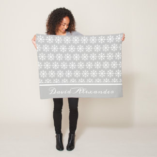 Couverture Polaire Flocon de neige blanc de point de polka sur le