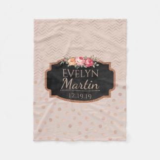 Couverture Polaire Floral décoré d'un monogramme rose du pois | de