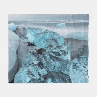 Couverture Polaire Glace bleue sur le paysage marin de plage, Islande