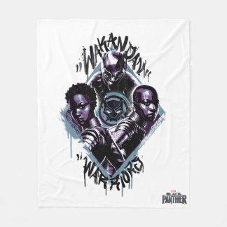 Couverture Polaire Graffiti de guerriers de la panthère noire |