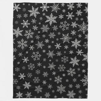 Couverture Polaire Gris noir et argenté du flocon de neige moderne 2