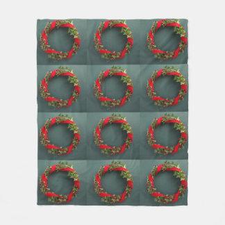 Couverture Polaire Guirlande de Noël avec le ruban de velours