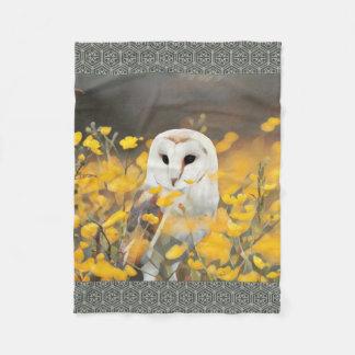 Couverture Polaire Hibou de grange dans la peinture jaune de fleurs