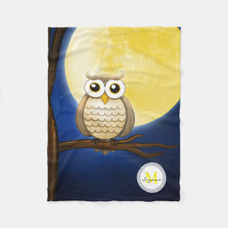 Couverture Polaire Hibou sage de nuit mignonne | décoratif