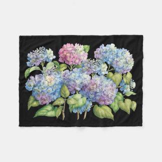 Couverture Polaire Hortensias en fleur