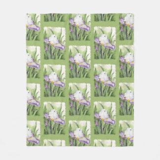 Couverture Polaire Iris mol d'aquarelle
