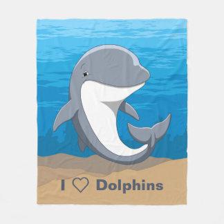 Couverture Polaire J'aime le Bottlenose mignon de dauphins