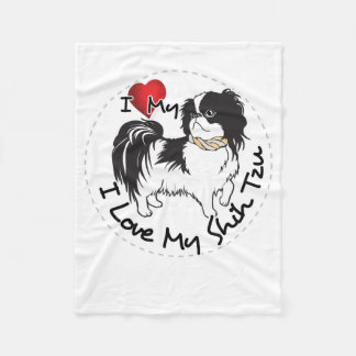 Couverture Polaire J'aime mon chien de Shih Tzu