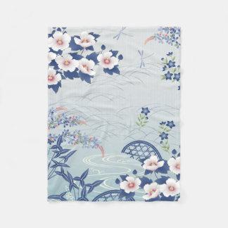 Couverture Polaire Jardin d'agrément japonais bleu-clair élégant