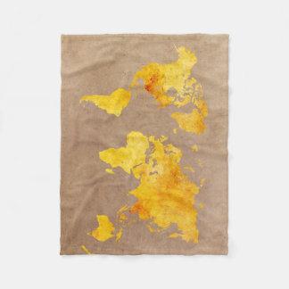 Couverture Polaire jaune de carte du monde