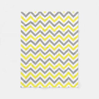Couverture Polaire Jaune, motif de zigzag blanc gris du DK grand
