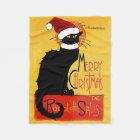 Couverture Polaire Joyeux Noël - conversation Noir