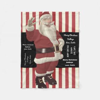Couverture Polaire La caresse avec Père Noël a personnalisé de Père