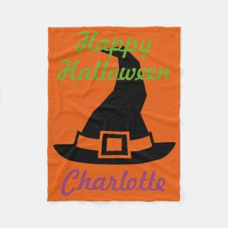Couverture Polaire Le chapeau de la sorcière heureuse de Halloween