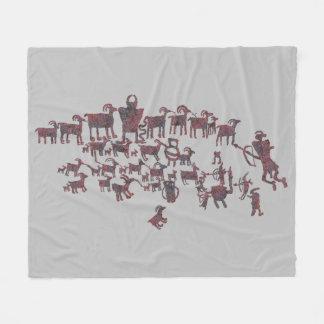 Couverture Polaire Le grand panneau de pétroglyphe de chasse