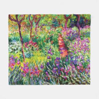 Couverture Polaire Le jardin d'iris chez Giverny par Claude Monet