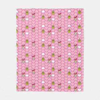 Couverture Polaire Le motif rose de coeur de Grinch et de Cindy-Lou