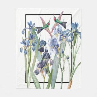 Couverture Polaire L'iris bleu d'oiseaux de colibri fleurit la