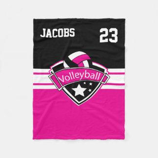Couverture Polaire Logo de volleyball dans les roses indien, le blanc