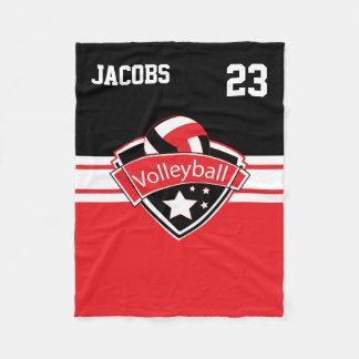 Couverture Polaire Logo de volleyball en rouge, le blanc et le noir