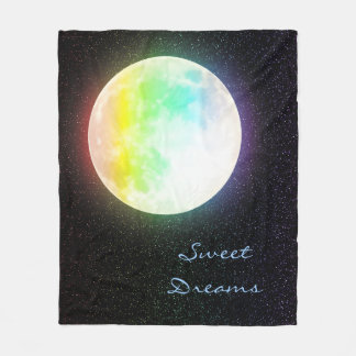 Couverture Polaire Lune d'arc-en-ciel et ciel nocturne étoilé